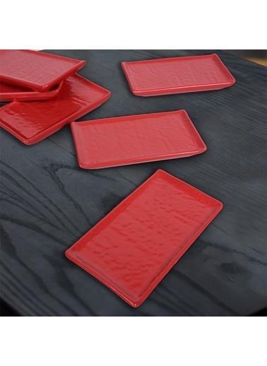 Keramika Keramika Mat Kırmızı Doğaltaş 15 cm 6 Adet Servis Tabağı Kırmızı